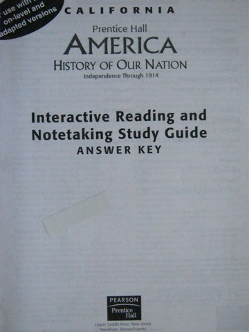 America History of Our Nation Interactive Reading Answer Key (P