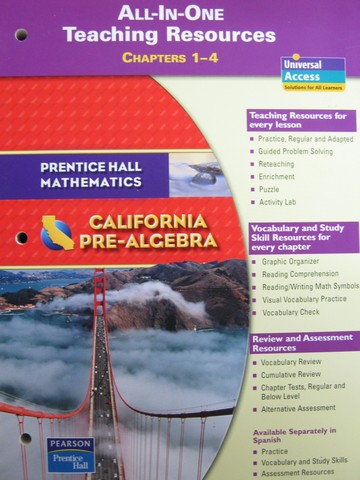 California Pre-Algebra All-in-One TR Chapters 1-4 (CA)(TE)(P)