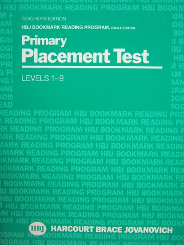 HBJ Bookmark Reading Eagle Levels 1-9 Primary Placement Test (P)