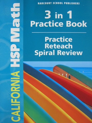 California HSP Math 3 3 In 1 Practice Book CA P