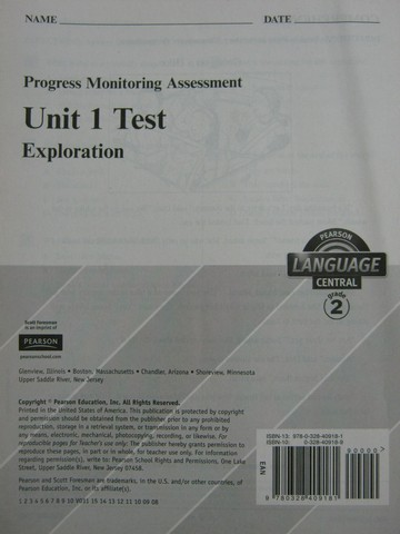 Pearson Language Central 2 Unit 1 Test (P)