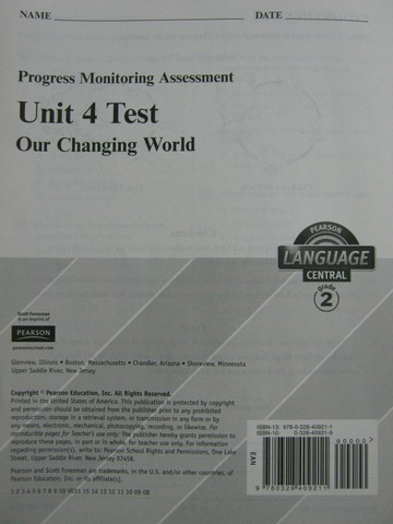 Pearson Language Central 2 Unit 4 Test (P)