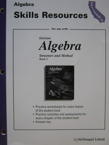 Algebra Structure & Method Book 1 Skills Resources (CA)(P)