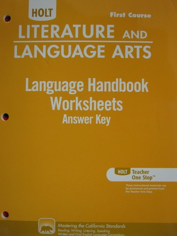 Language Handbook Worksheets Answer Key 1st Course (CA)(P)