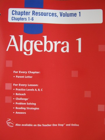Algebra 1 Chapter Resources Volume 1 Chapters 1-6 (P)