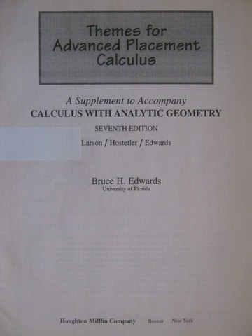 Calculus 7th Edition Themes for Advanced Placement (P)