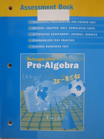 Pre-Algebra Assessment Book (P) by Larson, Boswell, Kanold