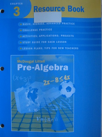 Pre-Algebra Chapter 3 Resource Book (P) by Larson, Boswell,