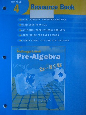 Pre-Algebra Chapter 4 Resource Book (P) by Larson, Boswell,