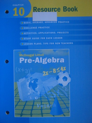Pre-Algebra Chapter 10 Resource Book (P) by Larson, Boswell,