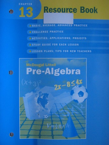 Pre-Algebra Chapter 13 Resource Book (P) by Larson, Boswell,