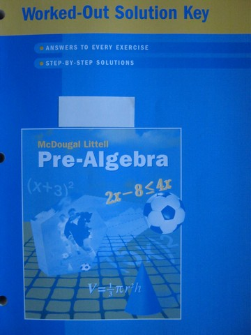 Pre-Algebra Worked-Out Solution Key (P) by Larson, Boswell,