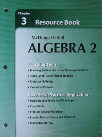 ML Algebra 2 Chapter 3 Resource Book P By Larson Boswell