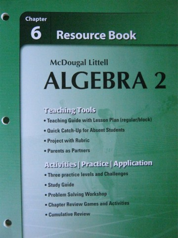 ML Algebra 2 Chapter 6 Resource Book (P) by Larson, Boswell ...