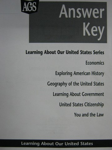 AGS Learning About Our United States Answer Key (P