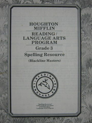 Reading/Language Arts Program 3 Spelling Resource BLM (P)