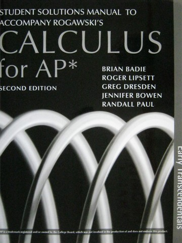 Calculus for AP Early Transcendentals 2e Student Solutions (P)