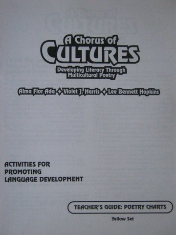 A Chorus of Cultures Yellow Set Poetry Chart TG (TE)(P) by Ada,