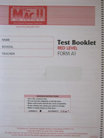 MAC II Test Booklet Red Level Form A1 (P) by Jean Maculaitis