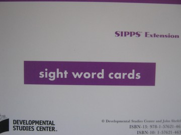 SIPPS Extension Sight Word Cards (Pk) by John Shefelbine
