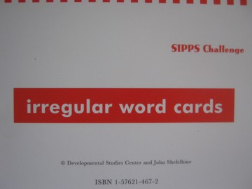 SIPPS Challenge Irregular Word Cards (Pk) by John Shefelbine