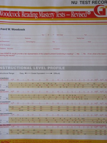 Woodcock Reading Mastery Tests Revised G NU Test Record (P)
