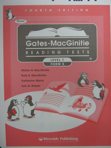 Gates-MacGinitie Reading Tests 4e Level 1 Form S Test (Pk)