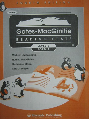 Gates-MacGinitie Reading Tests 4e Level 2 Form T Test (Pk)