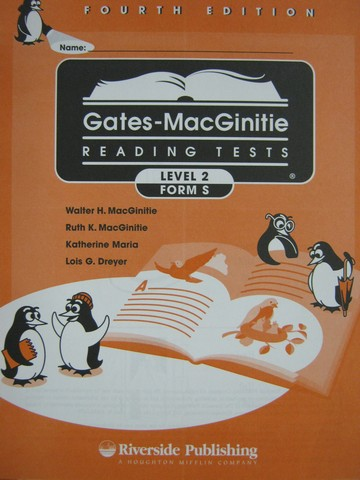 Gates-MacGinitie Reading Tests 4e Level 2 Form S Test (Pk)