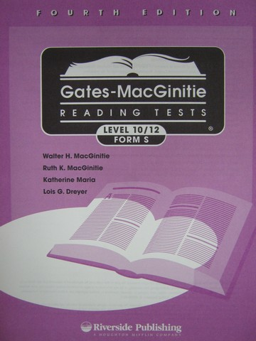 Gates-MacGinitie Reading Tests 4e Level 10/12 Form S Test (Pk)