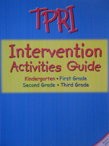 TPRI K-3 Intervention Activities Guide (Spiral)